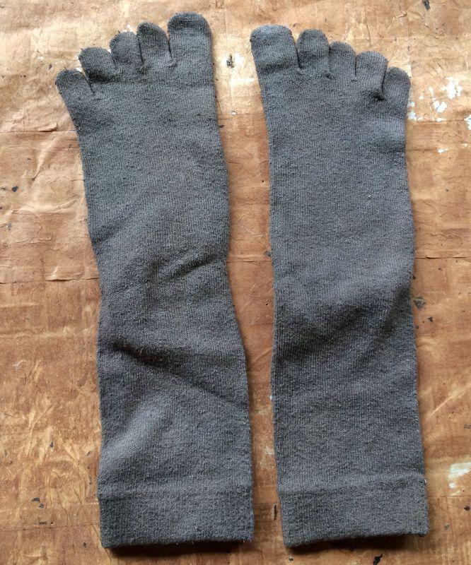 画像2: 草木染め絹5本指ソックス/のばら