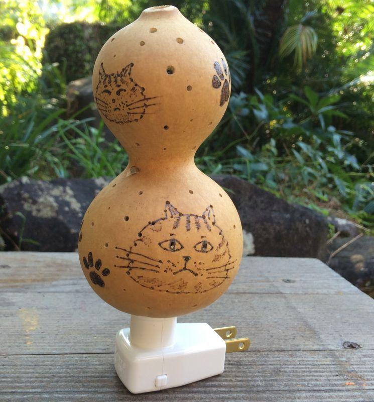 画像1: ひょうたんランプ 猫