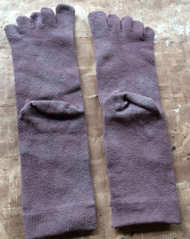 画像3: 草木染め絹5本指ソックス/ビワ